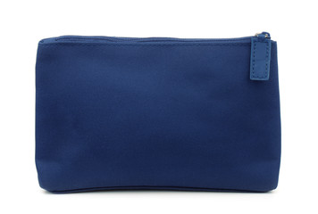 Side view of blue toiletry bag