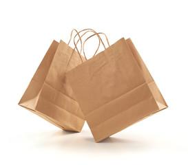 shopping bag kraft brown paper on white background