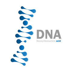 DNA icon logo, Molecular structure of Deoxyribonucleic acid, vector illustration