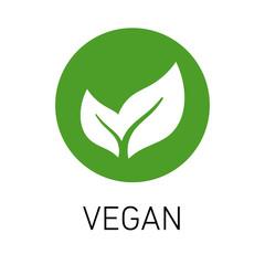 Veganism emblem green leaf