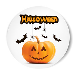 Pumpkin Smiling Halloween vector white sticker font. Illustration for greeting cards, party invitation, posters, labels and banners