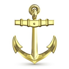 gold anchor on a white background