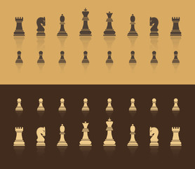 All figures are chess. In brown shades, with a shadow in the form of reflection. Flat style. Vector image.