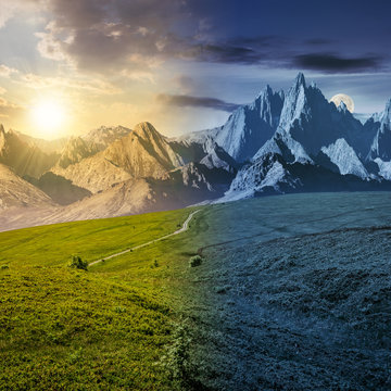 day and night time change concept. grassy slopes and rocky peaks composite. gorgeous summer landscape with magnificent mountain ridge over the pleasing green meadows. lovely surreal fantasy scenery