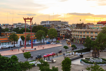 Giant swing landmark of bangkok city in sunset time / Sao Ching Cha landmark in Bangkok city