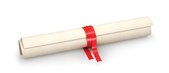 Graduation diploma scrolling bound with red ribbon, isolated on white. The symbol for a successful ending. 3d illustration