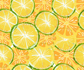 Vector tropical pattern. Fresh ripe lime and orange, palm leaves. Hand drawn seamless background.