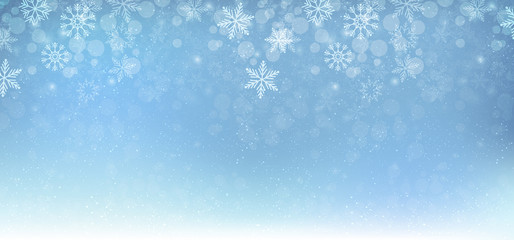 Winter christmas background blue