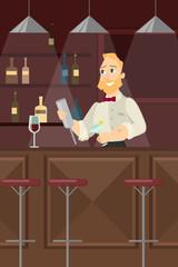 Barman at the bar.