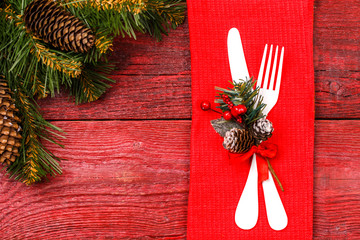 Photo of Christmas table with fork and knife