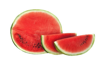 Sliced or half of watermelon isolated on white background.