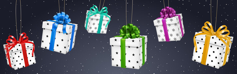 elegant background with different colorful presents
