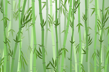 Cartoon Bamboo Forest Landscape Background. Vector
