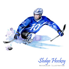 Wall Mural - Watercolor illustration. Sledge Hockey. Disability snow sports. Figure of disabled athlete on the ice with a puck. Active people. Disability and social policy. Social support. Extreme games.