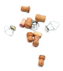 Corks from champagne wine and muselets after party