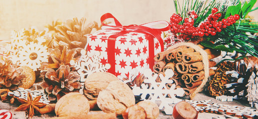Christmas background, gifts. Selective focus.