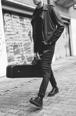 Young punk rocker walking in the city