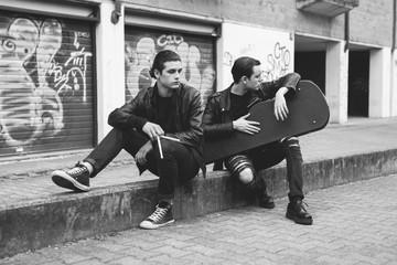 Punk rockers portrait in urban area