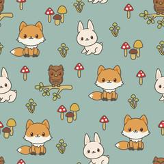 Woodland animals seamless vector pattern/wallpaper.