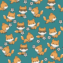 Little foxes playing soccer seamless pattern.