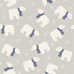 Polar bear in a blue scarf seamless pattern.