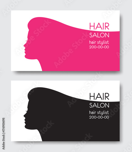 Hair salon business card templates with beautiful woman face sil hair salon business card templates with beautiful woman face sil wajeb