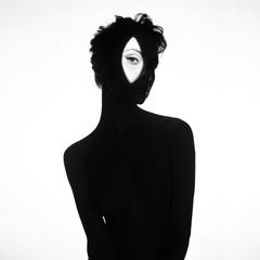 Nude elegant woman wearing shadow