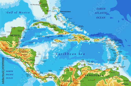 Central America and Caribbean Islands physical map\
