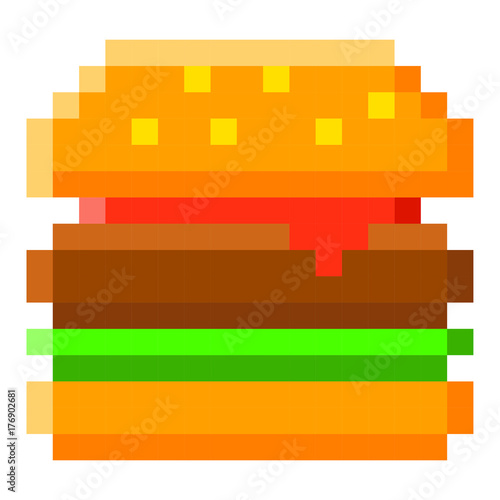 Pixel Burger Hamburger Art Cartoon Retro Game Style Stockfotos Und