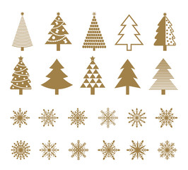 Set of snowflakes and Christmas tree icons. Isolated on white background. Vector illustration.