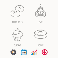 Cupcake, cake and bread rolls icons.