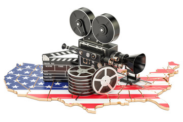 USA cinematography, film industry concept. 3D rendering