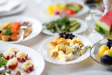 Appetizer/snack plate with assortment of cheese