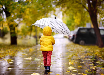 Little child walking in the city park at rainy autumn day