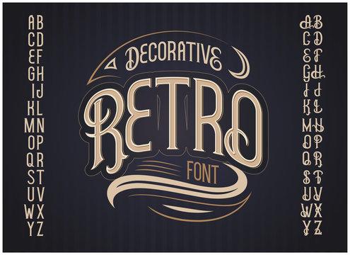 Vector retro typeface. Vector font