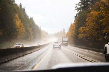 Driving in the Pacific Northwest in Fall