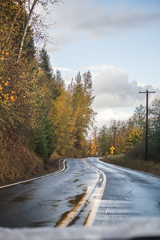 Rural Road on Wet Fall Day