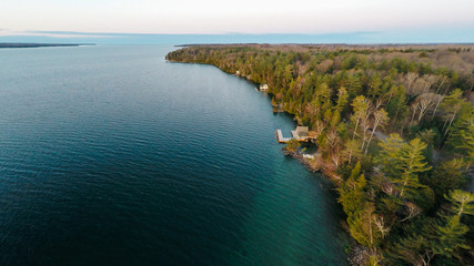 Aerial drone shot of a lake in cottage country