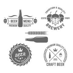 Set of beer labels vintage vector elements on white background