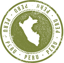 Vintage Peru South America Travel Stamp