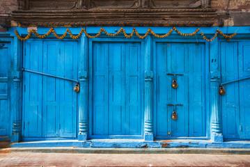 blue door in Durbar Square, Kathmandu