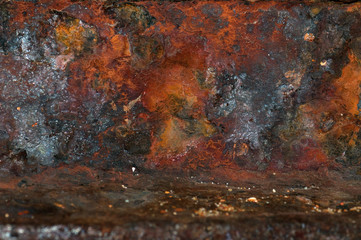 The panorama of scratches in blue and yellow paint in rusty metal. Texture or background