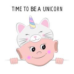 Cute Cartoon boy in a kitten unicorn hat on white background.