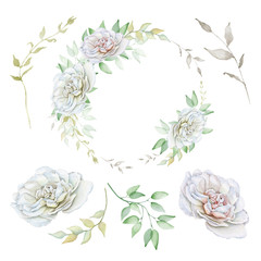 Hand drawn watercolor set with delicate white roses, wreath and branches. DIY elements