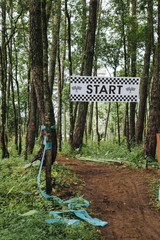 Start sign on a downhill mountain bike track.