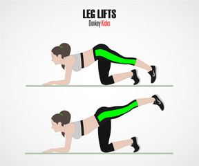 Leg lifts. Donkey kicks. Sport exercises. Exercises with free weight. Illustration of an active lifestyle. Vector sketch.