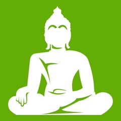 Statue of Buddha sitting in lotus pose icon green