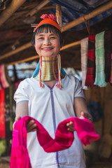 Real Lifestyle images of a Long Neck Tribal woman, Thailand.