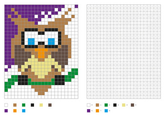 Kids coloring page, pixel coloring with fun bird. Vector illustration