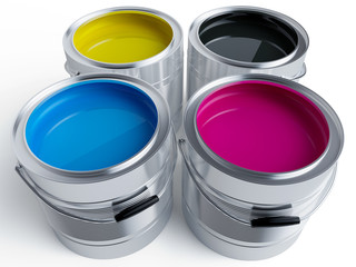 Colurful paint buckets in CMYK colors on white background - 3D Rendering